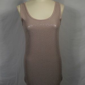 NWT Bella Amore Taupe Sequin Tank Top Tunic Small